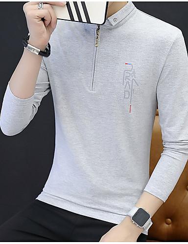 אחיד צווארון חולצה פשוט טישרט - בגדי ריקוד גברים / שרוול ארוך / ארוך