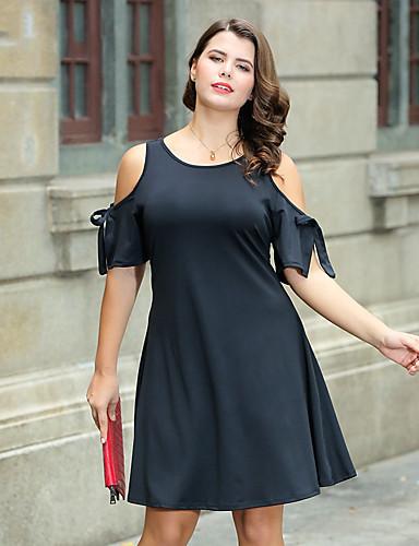 מותניים גבוהים מעל הברך פפיון, צבע אחיד - שמלה גזרת A נדן שחורה וקטנה מידות גדולות בגדי ריקוד נשים