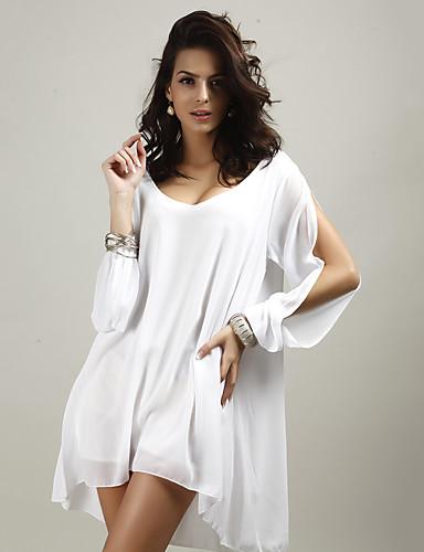 abordables Blusas para Mujer-Mujer Playa Blusa, Escote en Pico Un Color Negro L / Verano