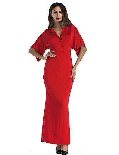 צווארון V מותניים גבוהים מקסי צבע אחיד - שמלה נדן רזה שרוול עטלף בסיסי / בוהו Party בגדי ריקוד נשים