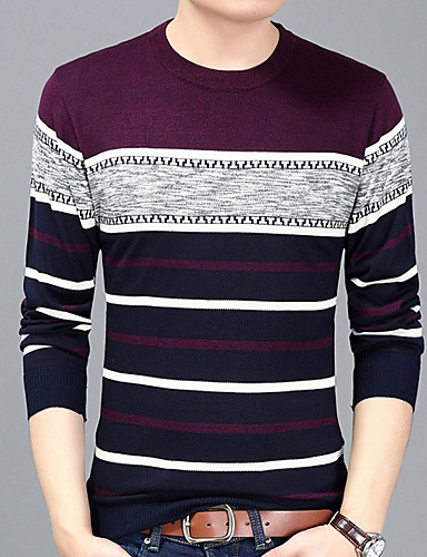 213c70d162f7 Ανδρικά T-shirt Βασικό Ριγέ Στρογγυλή Λαιμόκοψη Στάμπα   Μακρυμάνικο   Μακρύ