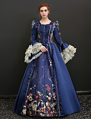becacac960e65 Queen Victoria Renaissance Costume Women's Dress Outfits Party Costume  Masquerade Blue / Red Vintage Cosplay 3/4 Length Sleeve Puff / Balloon  Sleeve Floor ...