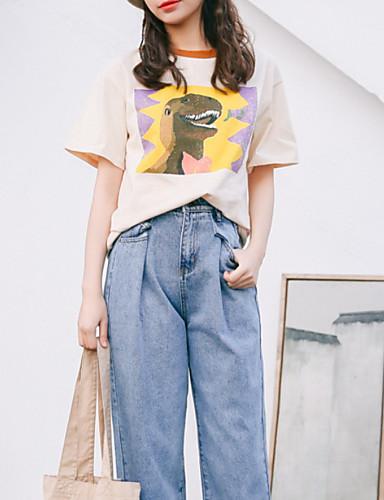 T-shirt Damskie Podstawowy, Nadruk Bawełna Święto Geometric Shape / Lato