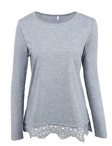 T-shirt Damskie Aktywny Bawełna Solidne kolory / Wiosna