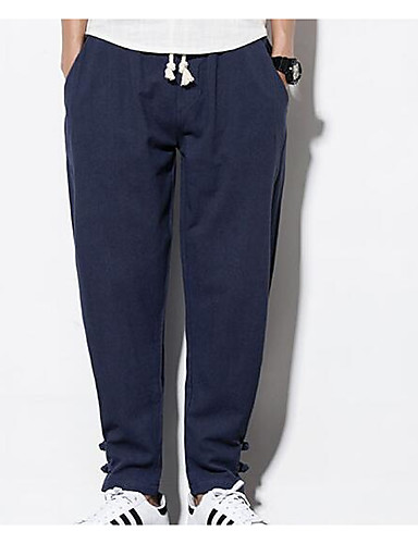 Męskie Sportowy Bawełna Luźna Haremki Spodnie Solidne kolory