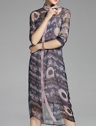 צווארון עגול קצר מידי פרחוני - שמלה חולצה בסיסי בגדי ריקוד נשים