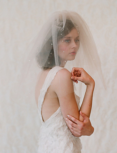 78c4aeac4379 Two-tier Japan and Korea Style Wedding Veil Shoulder Veils with Crystals /  Rhinestones Tulle / Drop Veil