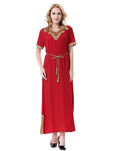 צווארון V מקסי צבע אחיד - שמלה משוחרר מידות גדולות בסיסי / בוהו בגדי ריקוד נשים