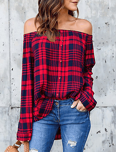 38833b583a2a7 Women s Holiday   Going out Street chic Cotton Shirt - Plaid Off Shoulder  Black L   Spring   Summer