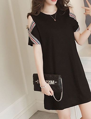 7952b2d2610 Women s Plus Size Daily Going out Basic Street chic Mini Loose Sheath Dress  - Solid Colored Black Off Shoulder Spring Black XXL XXXL XXXXL