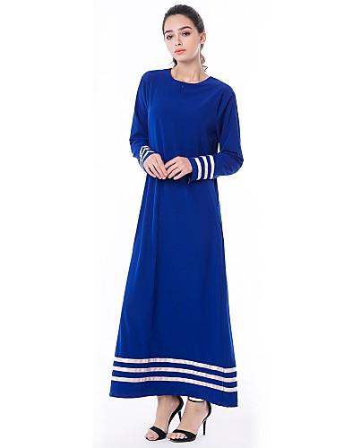 כחול מקסי קפלים, פרחוני - שמלה משוחרר משוחרר מידות גדולות בוהו בגדי ריקוד נשים