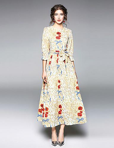 מידי דפוס, פרחוני - שמלה נדן ליציאה בגדי ריקוד נשים