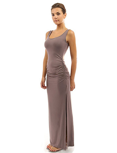 voordelige Maxi-jurken-Dames Feest Standaard Katoen Slank Schede Jurk - Effen Maxi Hoge taille / Hoge taille