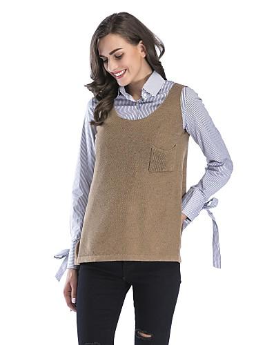 כותנה צבע אחיד - סוודר ללא שרוולים צווארון U חגים בגדי ריקוד נשים