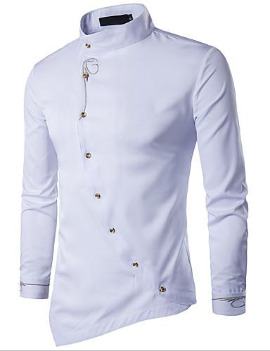 abordables Camisas de Hombre-Hombre Tejido Oriental Básico - Algodón Camisa, Cuello Mao Delgado Un Color Gris L / Manga Larga / Primavera