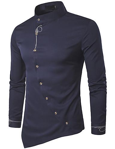 levne Pánské košile-Pánské - Jednobarevné Čínské vzory Košile, Základní Bavlna Stojáček Štíhlý Šedá L / Dlouhý rukáv / Jaro