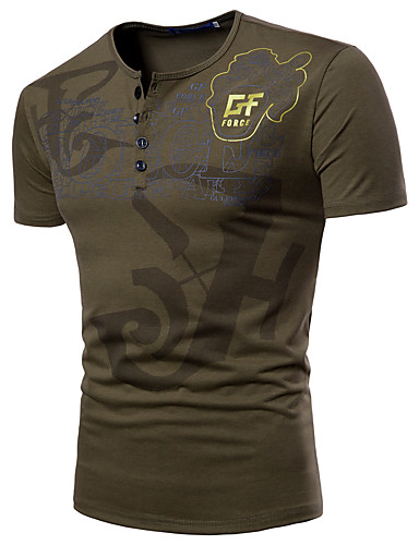 お買い得  軍隊-男性用 スポーツ - プリント プラスサイズ Tシャツ ベーシック / 軍隊 ラウンドネック レタード / 半袖