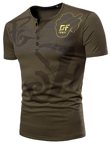 cheap Men's Tees & Tank Tops-Men's Sports Basic / Military Plus Size T-shirt - Letter Print Round Neck / Short Sleeve