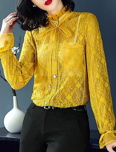Koszula Damskie Vintage / Moda miejska, Koronka / Z wycięciem Kołnierz stawiany Solidne kolory
