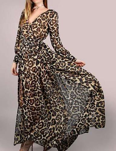 צווארון V מקסי נמר - שמלה נדן כותנה בסיסי בגדי ריקוד נשים / אביב