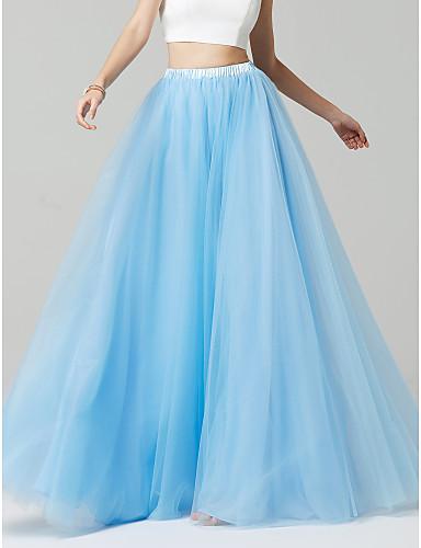 billige Lange brudepikekjoler-A-linje Gulvlang Tyll Brudepikekjole med av LAN TING BRIDE®