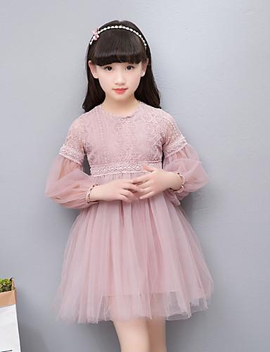f0ff4db93743b فستان كم طويل دانتيل   مطرز لون سادة   خملة الجاكوارد مناسب للحفلات بسيط    عتيق   أساسي للفتيات أطفال   قطن