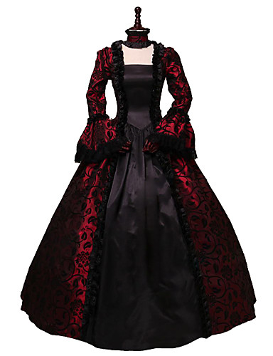 066951b9336c Rococo Victorian 18th Century Costume Dress Black / Red Vintage Cosplay  Party Prom Long Sleeve Flare Sleeve Ball Gown