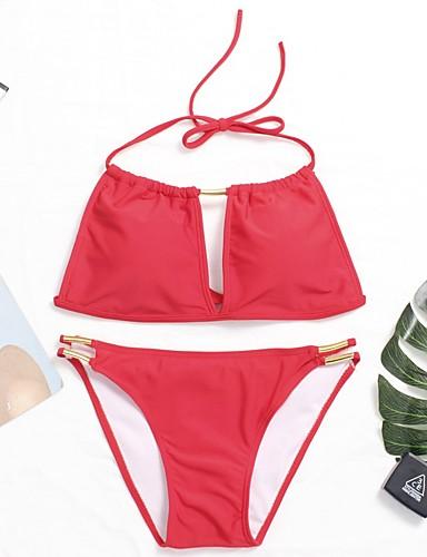 צבע אחיד ביקיני קולר / סירה מתחת לכתפיים בסיסי בגדי ריקוד נשים