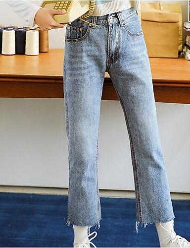 מכנסיים ג'ינסים פוליאסטר מיקרו-אלסטי גיזרה בינונית (אמצע) אחיד פשוט אביב נורמלי בגדי ריקוד נשים