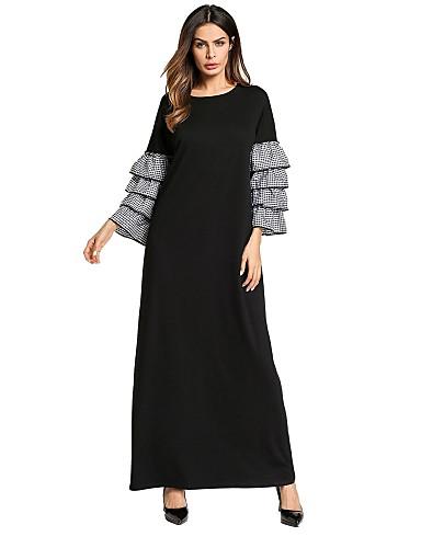 שחור מקסי קפלים, פסים - שמלה משוחרר סווינג בסיסי בוהו בגדי ריקוד נשים