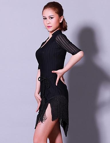 a12cfea460b5 Latin Dance Dresses Women's Training Performance POLY Elastane Split Joint  Tassel Half Sleeves Natural Dress