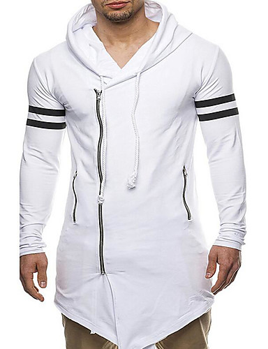 733031374cf Men s Plus Size Long Sleeve Slim Long Hoodie - Striped Print Hooded White  XL   Spring
