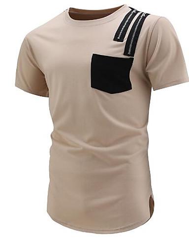 abordables Camisetas y Tops de Hombre-Hombre Camiseta, Escote Redondo Bloques Beige L / Manga Corta