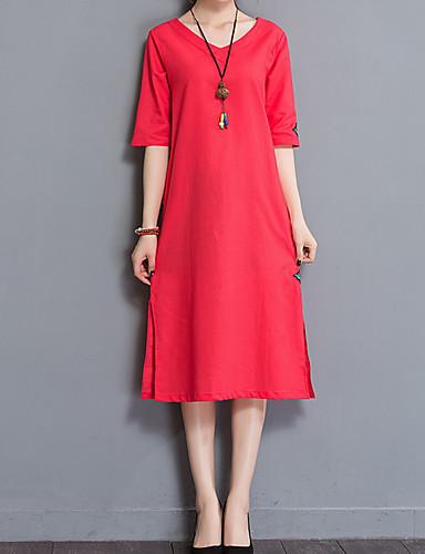 Damskie Wzornictwo chińskie Bawełna T-shirt Sukienka - Solidne kolory, Haft W serek Midi / Lato