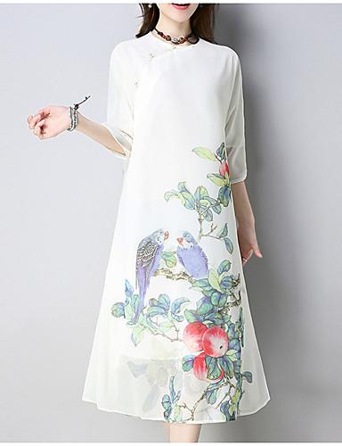 Damskie Wzornictwo chińskie Bawełna Luźna Sukienka - Solidne kolory, Nadruk Midi / Wiosna