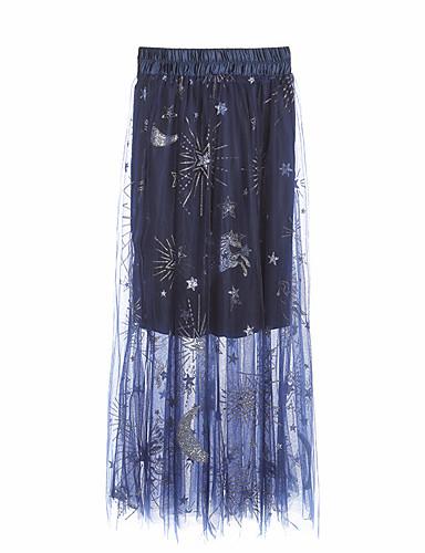 קפלים אחיד - חצאיות מקסי כותנה נדנדה מידות גדולות בגדי ריקוד נשים