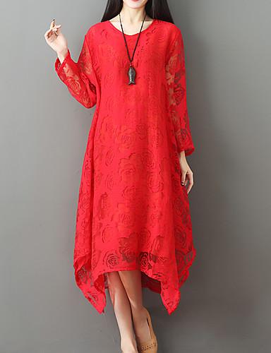 אדום מידי / א-סימטרי אחיד - שמלה משוחרר משוחרר בסיסי / בוהו חגים בגדי ריקוד נשים