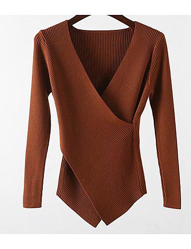 כותנה דפוס, צבע אחיד - סוודר שרוול ארוך צווארון V בגדי ריקוד נשים / אביב