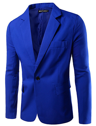 760239df78 ... Spring Regular Blazer, Solid Colored Notch Lapel Long Sleeve Polyester  Basic Army Green / Khaki / Royal Blue XL / XXL / XXXL / Business Casual /  Slim