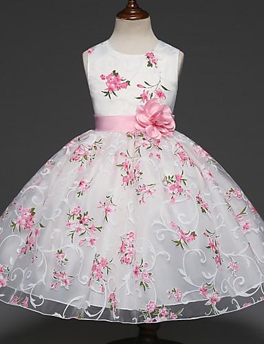 c0b1ec06e6421 Enfants Fille Doux Soirée Fleur Multirang   Jacquard Sans Manches Robe Blanc