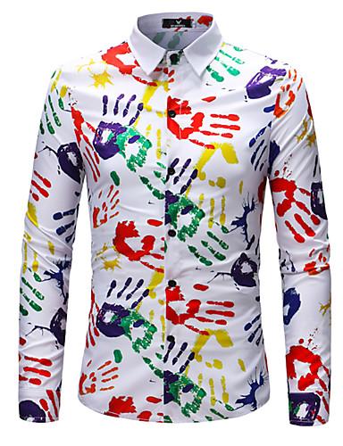 פרחוני גיאומטרי מידות גדולות, חולצה - בגדי ריקוד גברים