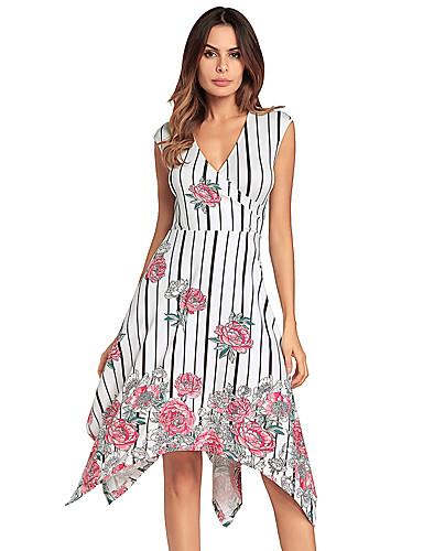 a4f33ba34 Mujer Fiesta Noche Algodón Corte Swing Vestido - Cruzado, Floral ...