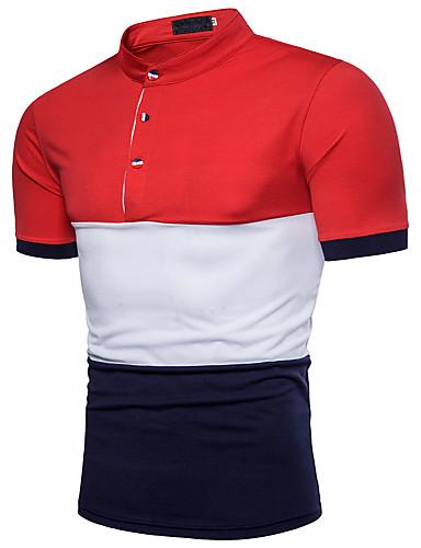 קולור בלוק צווארון חולצה פעיל כותנה, Polo - בגדי ריקוד גברים בסיסי / שרוולים קצרים