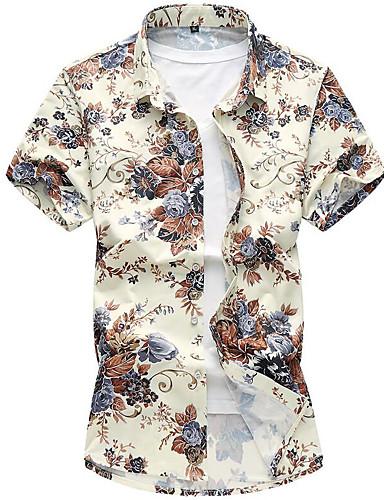 פרחוני צווארון קלאסי רזה בוהו חוף חולצה - בגדי ריקוד גברים דפוס / שרוולים קצרים