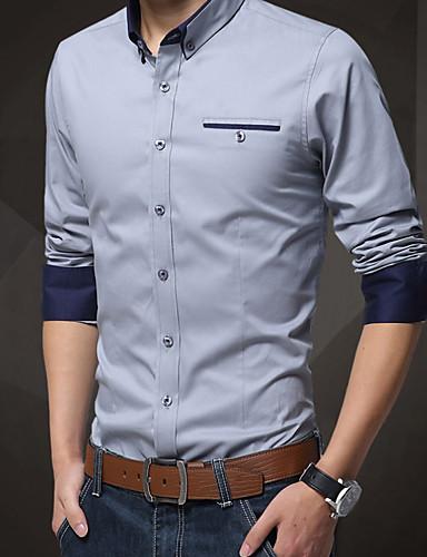 hesapli Erkek Gömlekleri-Erkek İnce - Gömlek Solid İş Çalışma Sarı / Uzun Kollu