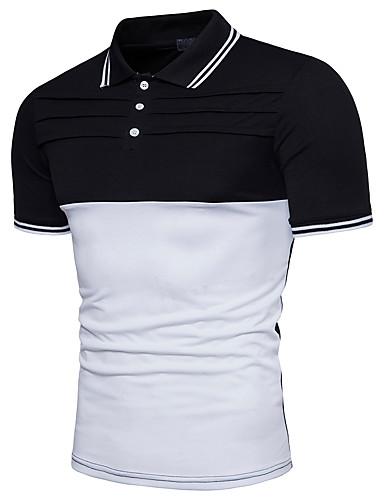 קולור בלוק צווארון חולצה Polo - בגדי ריקוד גברים כותנה