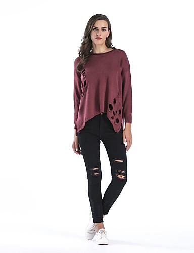 כותנה חלול חיצוני, צבע אחיד - סוודר שרוול ארוך חגים בגדי ריקוד נשים