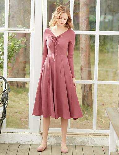 Damskie Vintage Bawełna Szczupła Linia A Sukienka - Solidne kolory W serek Wysoka talia Midi