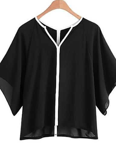 abordables Camisas y Camisetas para Mujer-Mujer Básico Tallas Grandes Camisa, Escote en Pico Corte Ancho Bloques Blanco y Negro Blanco XXL / Primavera / Verano / manga de la llamarada