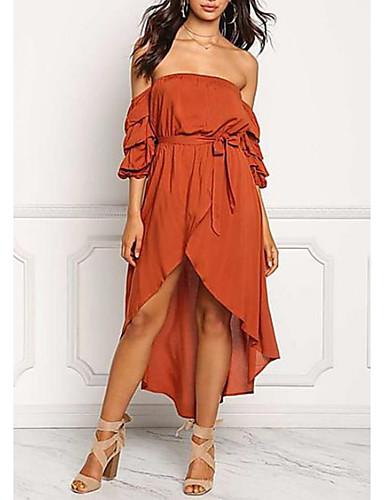 c634fe0b8def Women s Off Shoulder Daily Slim Sheath Dress - Solid Colored Strapless Off  Shoulder Summer Orange M L XL